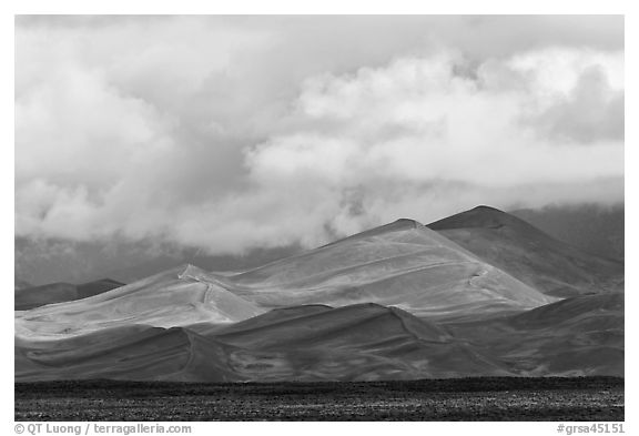 Tall dunes and low clouds. Great Sand Dunes National Park and Preserve (black and white)