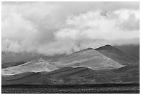 Tall dunes and low clouds. Great Sand Dunes National Park, Colorado, USA. (black and white)