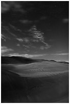 Dunes with starry sky at night. Great Sand Dunes National Park, Colorado, USA. (black and white)