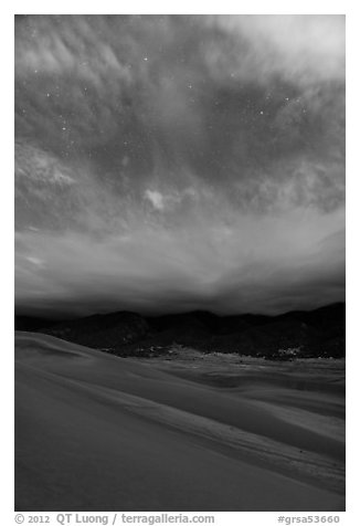 Dunes, moonlit clouds, and stars. Great Sand Dunes National Park and Preserve (black and white)
