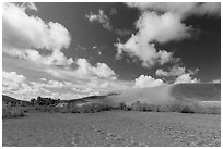 Dried Medano Creek and sand dunes in autumn. Great Sand Dunes National Park, Colorado, USA. (black and white)