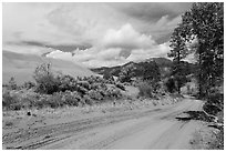 Medano Pass primitive road. Great Sand Dunes National Park, Colorado, USA. (black and white)