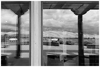 Dune field, visitor center window reflexion. Great Sand Dunes National Park, Colorado, USA. (black and white)