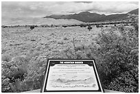 Dune field interpretative sign. Great Sand Dunes National Park, Colorado, USA. (black and white)
