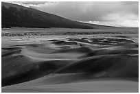 Dune field and valley, late afternoon. Great Sand Dunes National Park, Colorado, USA. (black and white)