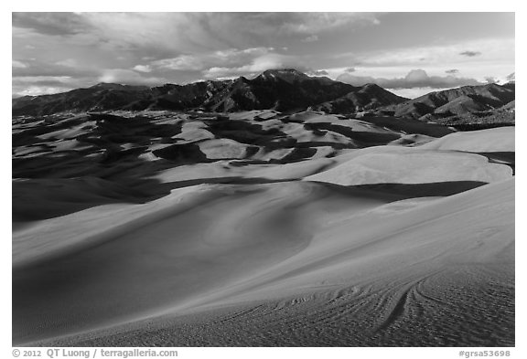 Dune field and Sangre de Cristo mountains at sunset. Great Sand Dunes National Park and Preserve (black and white)