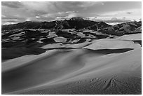 Dune field and Sangre de Cristo mountains at sunset. Great Sand Dunes National Park, Colorado, USA. (black and white)