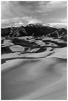 Mount Herard and dune field at sunset. Great Sand Dunes National Park, Colorado, USA. (black and white)