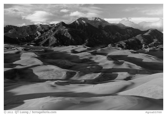 Last light tover dune field and Mount Herard. Great Sand Dunes National Park and Preserve (black and white)