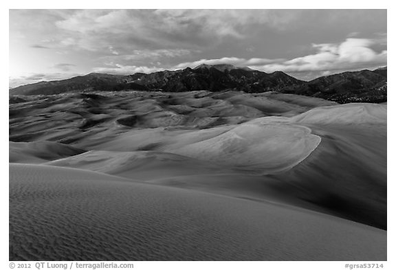 Dunes and Sangre de Cristo mountains at dusk. Great Sand Dunes National Park and Preserve (black and white)