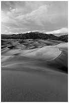 Dunes and Mount Herard at dusk. Great Sand Dunes National Park, Colorado, USA. (black and white)