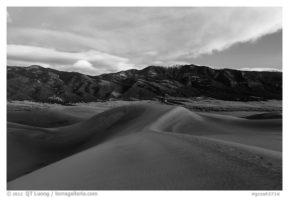 Dunes and Mount Zwischen at dusk. Great Sand Dunes National Park and Preserve (black and white)