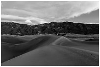 Dunes and Mount Zwischen at dusk. Great Sand Dunes National Park, Colorado, USA. (black and white)