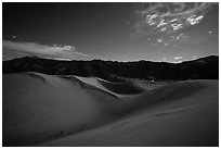Dunes and mountains at night. Great Sand Dunes National Park, Colorado, USA. (black and white)