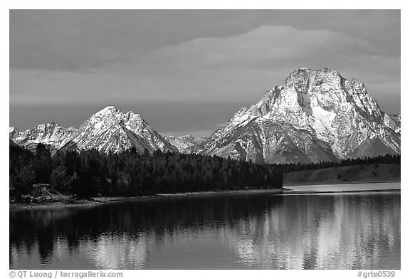 Mt Moran in early winter, reflected in Oxbow bend. Grand Teton National Park (black and white)