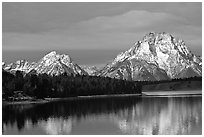 Mt Moran in early winter, reflected in Oxbow bend. Grand Teton National Park, Wyoming, USA. (black and white)