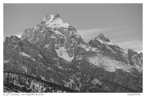 Grand Teton with snow, winter sunset. Grand Teton National Park (black and white)