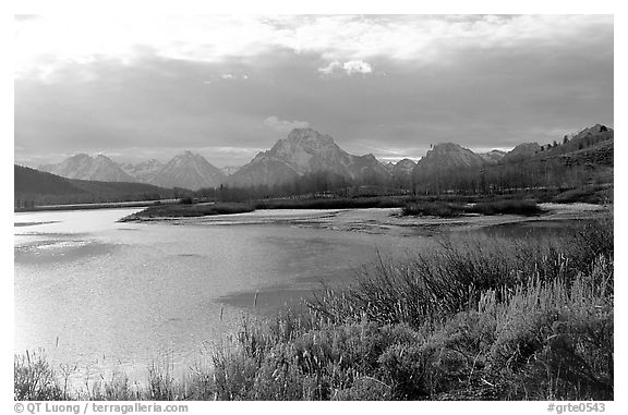 Oxbow bend and Mt Moran. Grand Teton National Park (black and white)