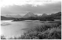 Oxbow bend and Mt Moran. Grand Teton National Park, Wyoming, USA. (black and white)