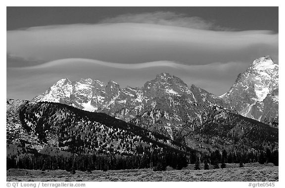 Lenticular cloud above the Grand Teton. Grand Teton National Park (black and white)