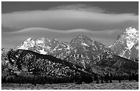 Lenticular cloud above the Grand Teton. Grand Teton National Park, Wyoming, USA. (black and white)
