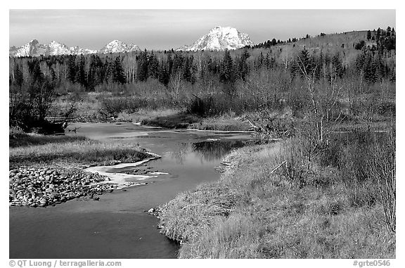 Stream, with Mt Moran emerging from ridige, late fall. Grand Teton National Park (black and white)