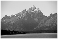 Grand Teton rises above Jackson lake. Grand Teton National Park, Wyoming, USA. (black and white)