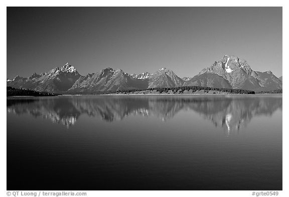 The Teton range above blue Jackson lake. Grand Teton National Park (black and white)