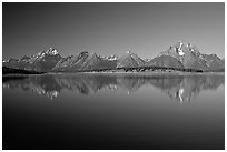 The Teton range above blue Jackson lake. Grand Teton National Park, Wyoming, USA. (black and white)