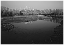 Teton range reflected in water at Schwabacher Landing, sunrise. Grand Teton National Park ( black and white)