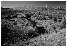 Wetlands and Teton range in autumn. Grand Teton National Park, Wyoming, USA. (black and white)