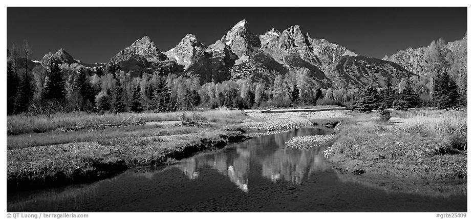 Mountains and fall colors reflected in pond, Schwabacher Landing. Grand Teton National Park (black and white)