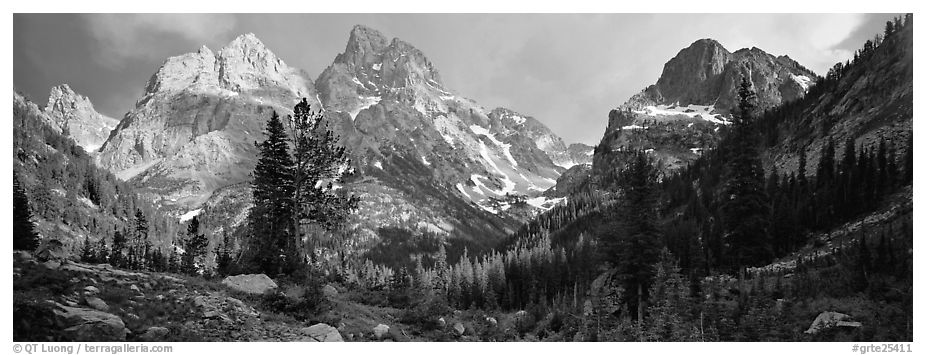 Mountain scenery with dramatic peaks. Grand Teton National Park (black and white)