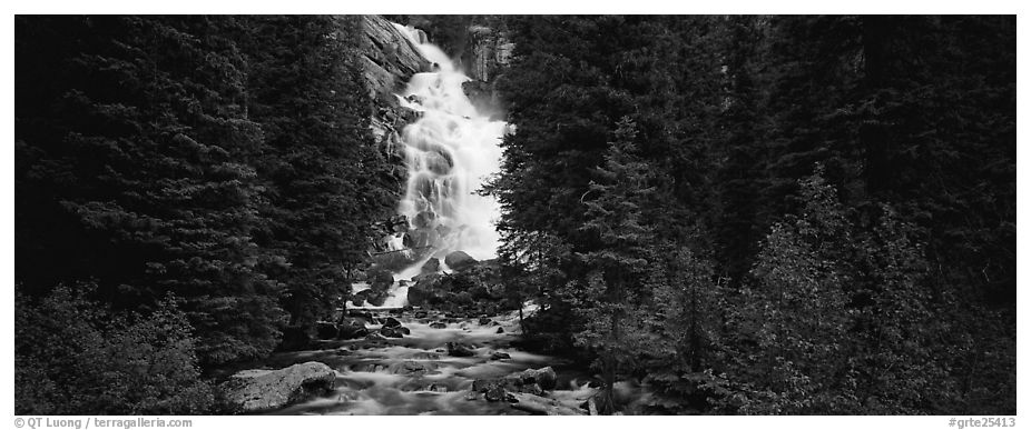 Waterfall flowing in dark forest. Grand Teton National Park (black and white)