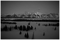 Teton range at night in winter. Grand Teton National Park ( black and white)