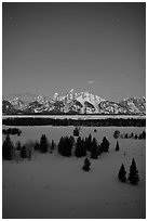 Night view of Teton range in winter. Grand Teton National Park ( black and white)