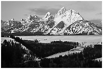 Grand Teton, winter sunrise. Grand Teton National Park ( black and white)