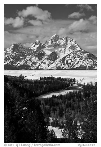 Snake River bend and Grand Teton in winter. Grand Teton National Park (black and white)