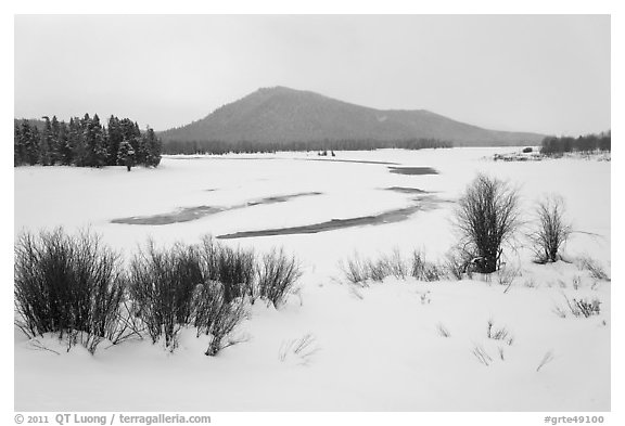 Oxbow Bend in winter. Grand Teton National Park (black and white)