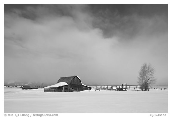 Moulton Barn in winter. Grand Teton National Park (black and white)