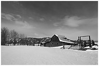 Moulton homestead, Mormon row historic district, winter. Grand Teton National Park, Wyoming, USA. (black and white)
