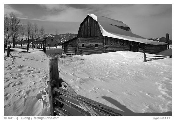 Historic Mormon Row homestead in winter. Grand Teton National Park (black and white)