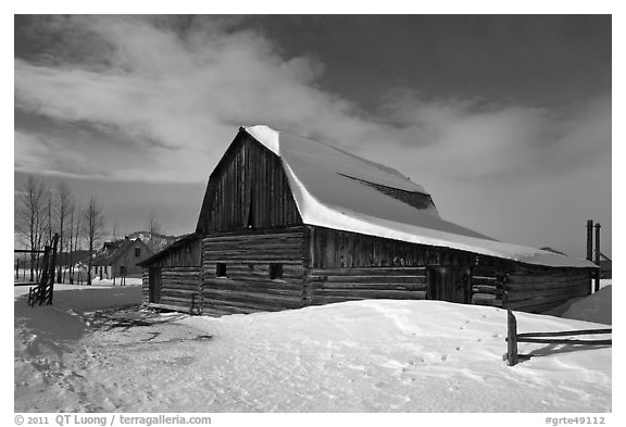 John and Bartha Moulton homestead in winter. Grand Teton National Park (black and white)