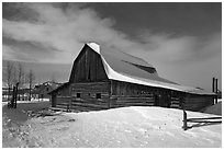 John and Bartha Moulton homestead in winter. Grand Teton National Park, Wyoming, USA. (black and white)