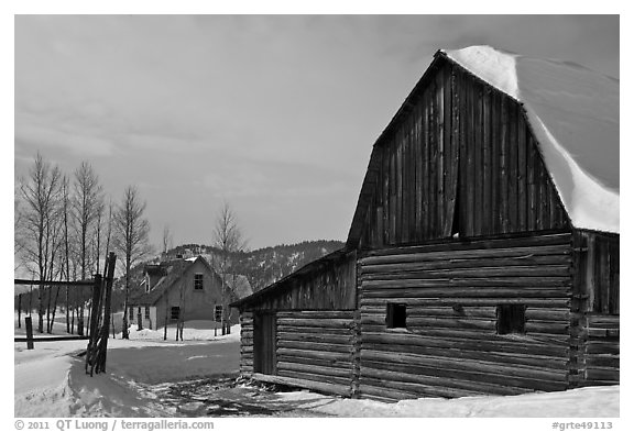 Moulton barn and house in winter. Grand Teton National Park (black and white)