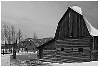 Moulton barn and house in winter. Grand Teton National Park, Wyoming, USA. (black and white)