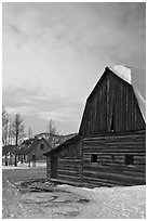 Wooden barn and house, Moulton homestead. Grand Teton National Park, Wyoming, USA. (black and white)
