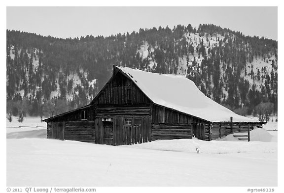 Thomas Alma and Lucille Moulton Homestead, winter. Grand Teton National Park (black and white)