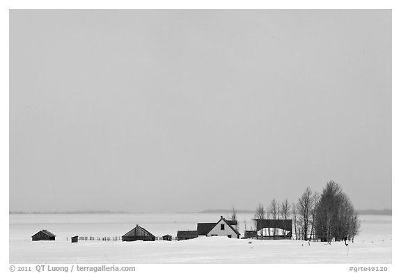 Mormon row homesteads and Jackson Hole in winter. Grand Teton National Park (black and white)