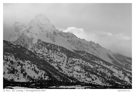 Mount Owen in winter. Grand Teton National Park (black and white)